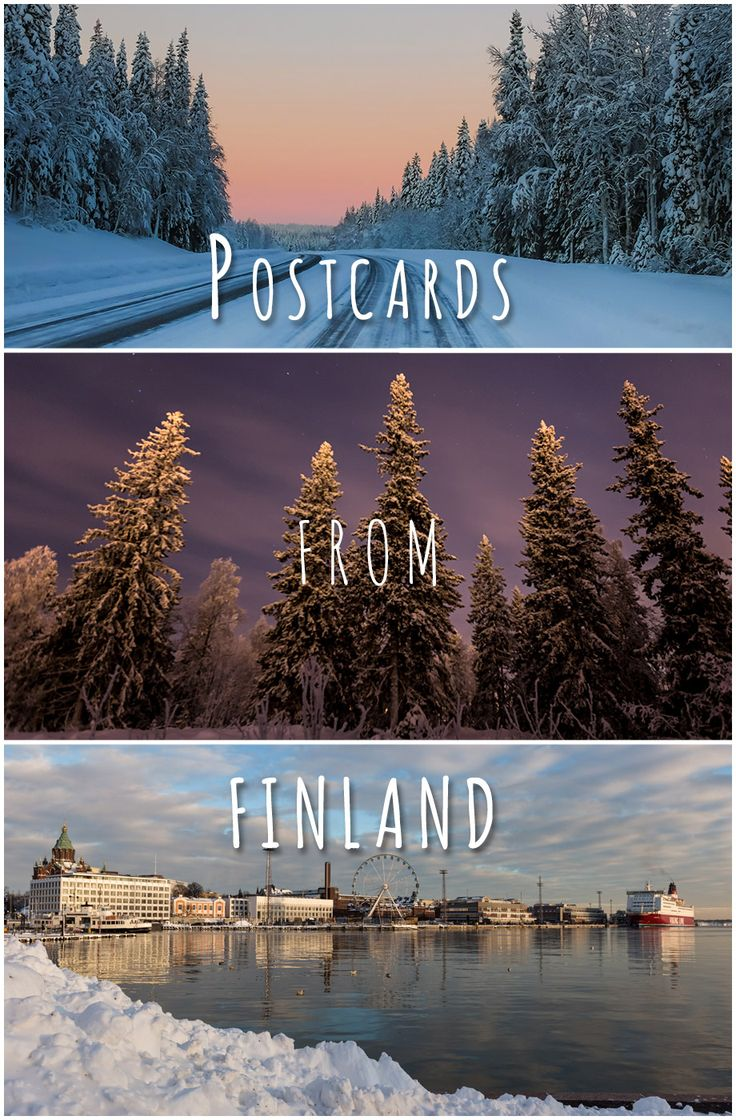 A collection of our personally created postcards from a month long trip in Finland.