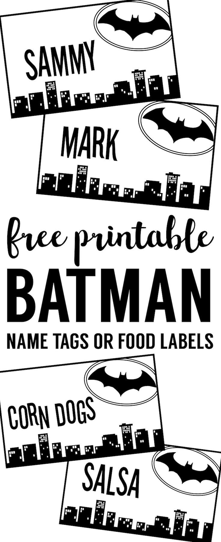 Batman Name Tags Free Printable. Use this template to make name cards, place cards, or food labels for your DIY Batman birthday party, baby shower, or Halloween party decor.