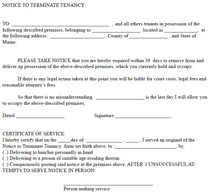 Eviction Notice Form Missouri Notice To Quit  Pdf  Word Free