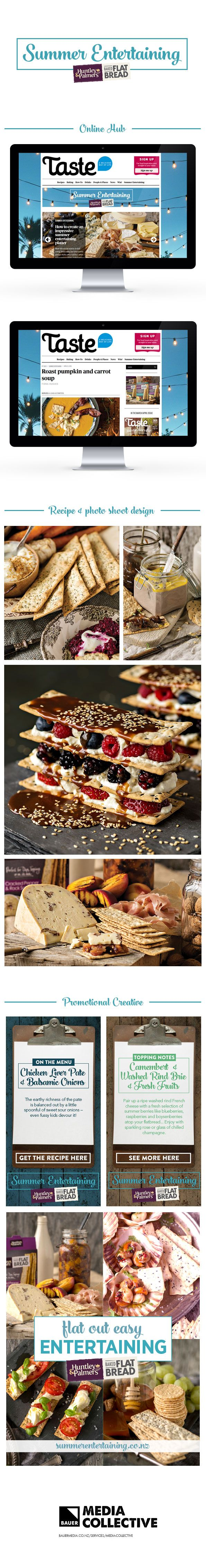 Summer Entertaining for Huntley & Palmers Flatbread. An online hub filled with summer time recipes and creative ideas for table settings and drinks. Digital design and content creation by Media Collective