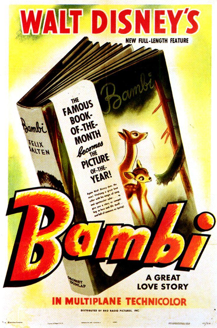 Bambi poster (1942) | Vintage Disney | Pinterest