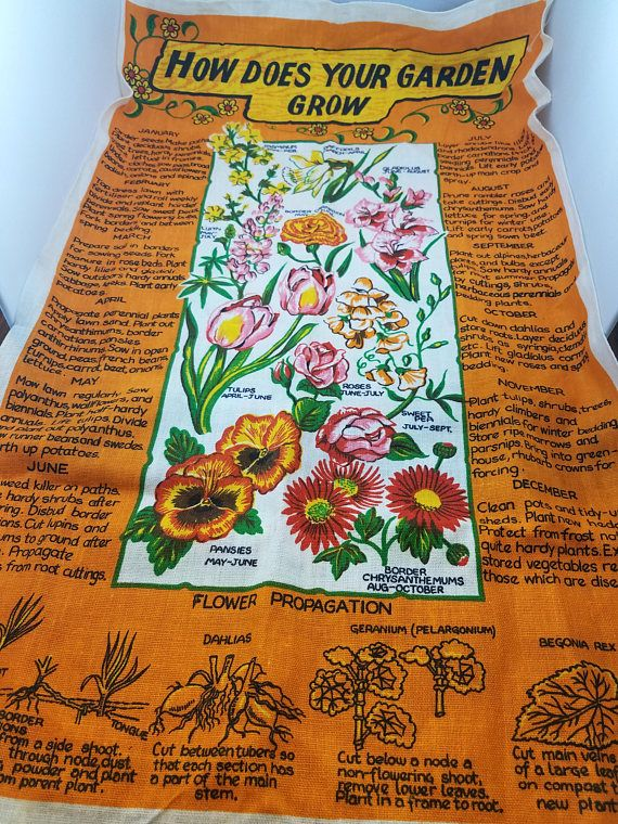 Vintage Bright and Colorful Irish Linen How Does Your Garden
