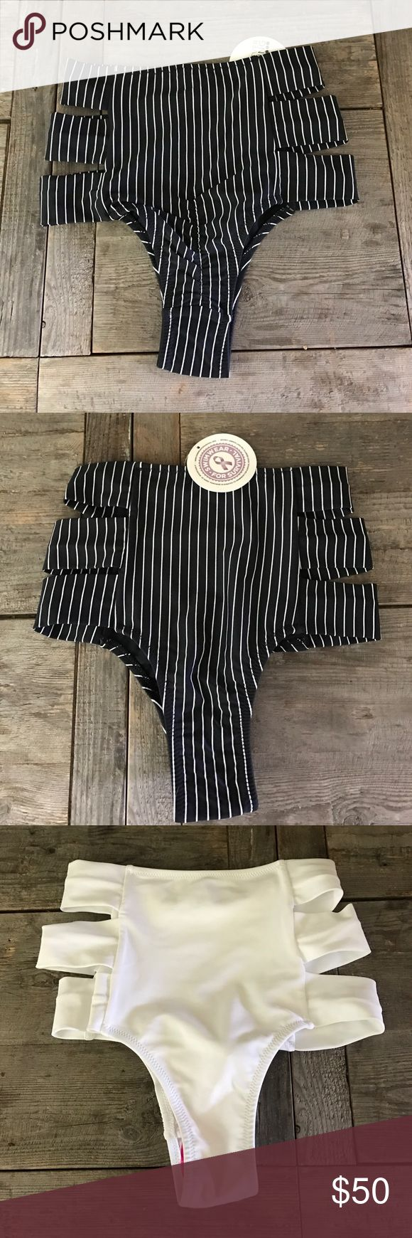 2 Forever Young High Waist, Scrunch Bikini Bottoms Two Hollywood High Waist Bikini Bottoms: Black/White Pinstripe and All White. Forever Young Swim Bikinis