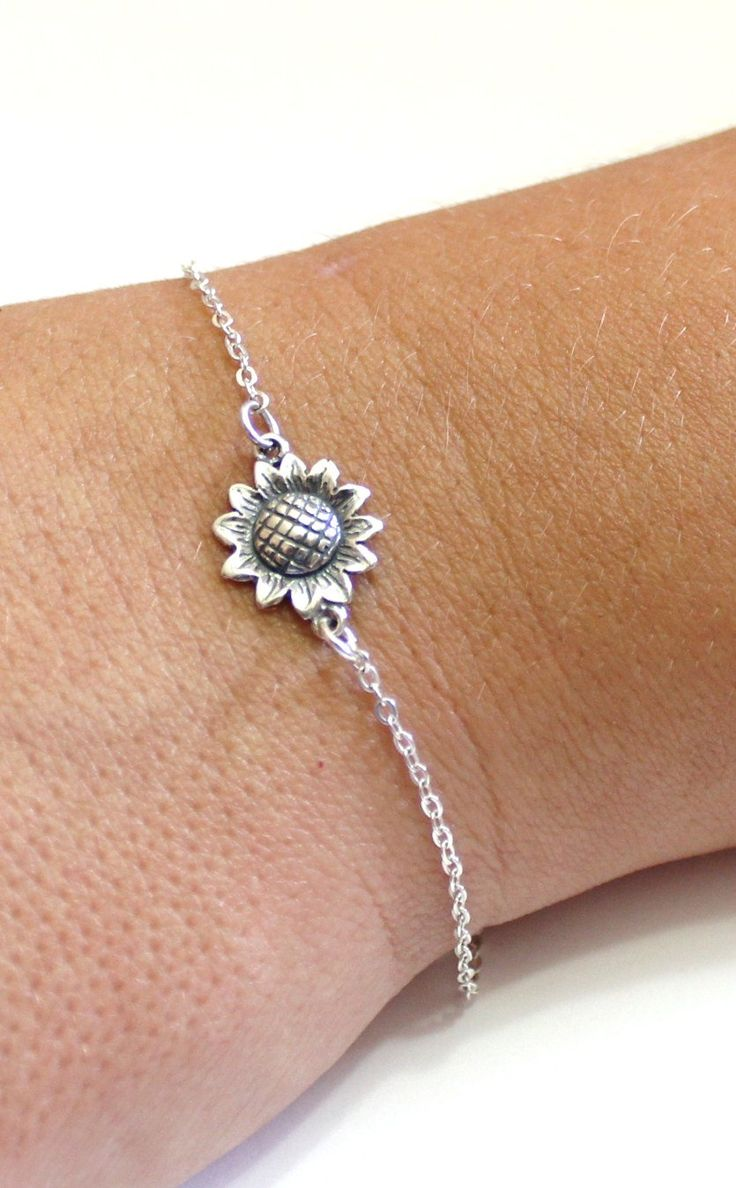 Sterling Silver Sunflower Bracelet, Sunflower Bracelet, Bridesmaid Jewelry, Sunflower Jewelry, Summer Jewelry, sun flower by BridesmaidsGiftNicol on Etsy