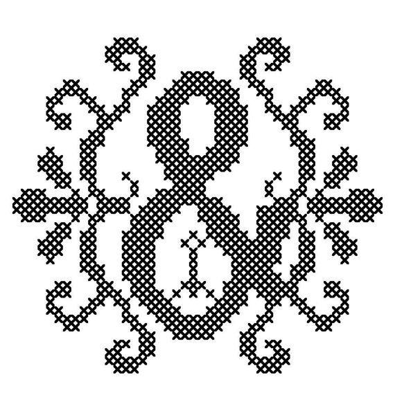 Ampersand Cross Stitch/ Modern Cross by oneofakindbabydesign