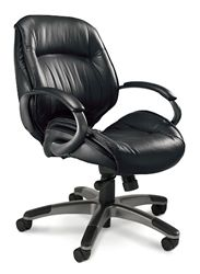 Comfortable Office Chairs in soft leather ULMGR Ultimo Mid-Back by Mayline.  The most comfortable leather office chairs on sale in the store...
