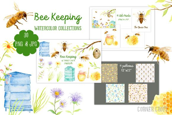 Watercolor Collection Bee Keeping by Corner Croft on @creativemarket