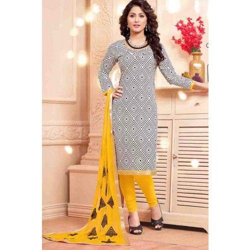 WHITE CHANDERI CHURIDAR SUIT Price - £23.00 #ChuridarSuit #FashionUK  #DesignerDresses #ShopkundUK  #IndianSuitOnline