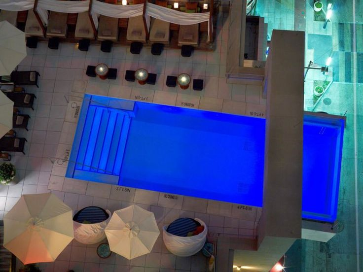 The rooftop pool at the Joule in Dallas, Texas, extends eight feet out from the edge of the building, making this pool a must for adventure-seekers.