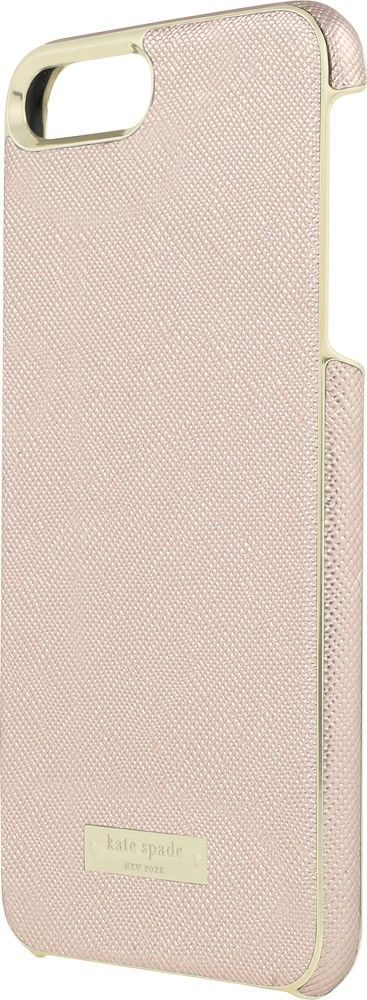 kate spade new york - Wrap Case for Apple® iPhone® 7 Plus - Saffiano rose gold/Gold logo plate - Front Zoom