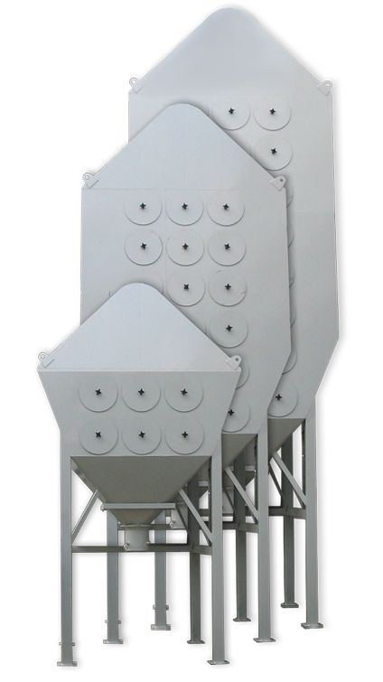 CARTRIDGE DUST COLLECTOR SAX - The Sax dust collector is a cartridge dust collector with a specially-designed intake. The intake is constructed according to the DOWN-STREAM principle. This means that the intake is mounted on the top or on the side of the dust collector.