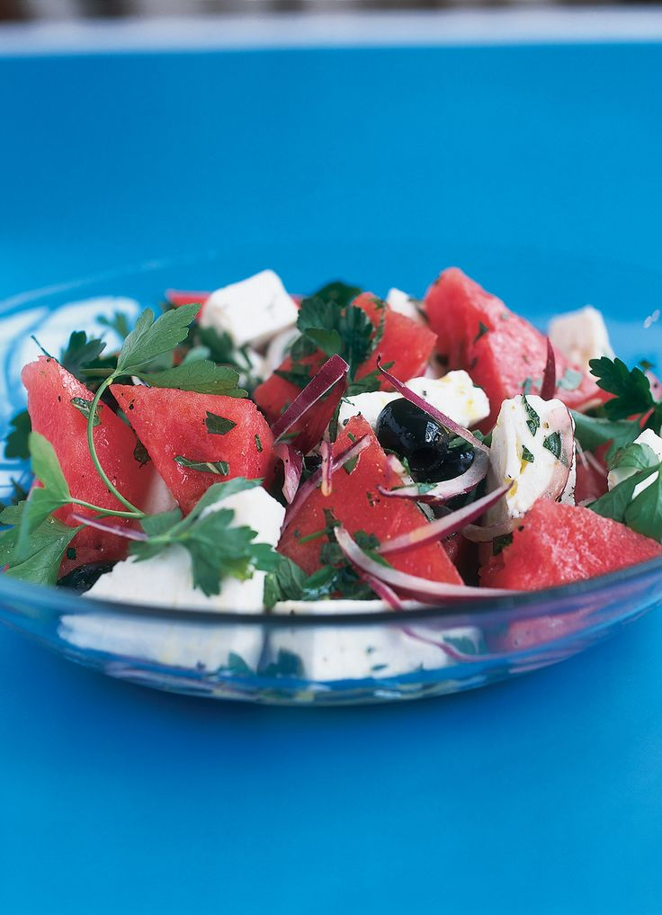 As improbable as it might sound, this combination is utterly fantastic, both savoury and refreshing at the same time. You can pare it down to the essential contrast, and serve no more than a plate of chunked watermelon, sprinkled with feta and mint and spritzed with lime, but this full-length version is hardly troublesome to make and once made will, I assure you, become a regular feature of your table.
