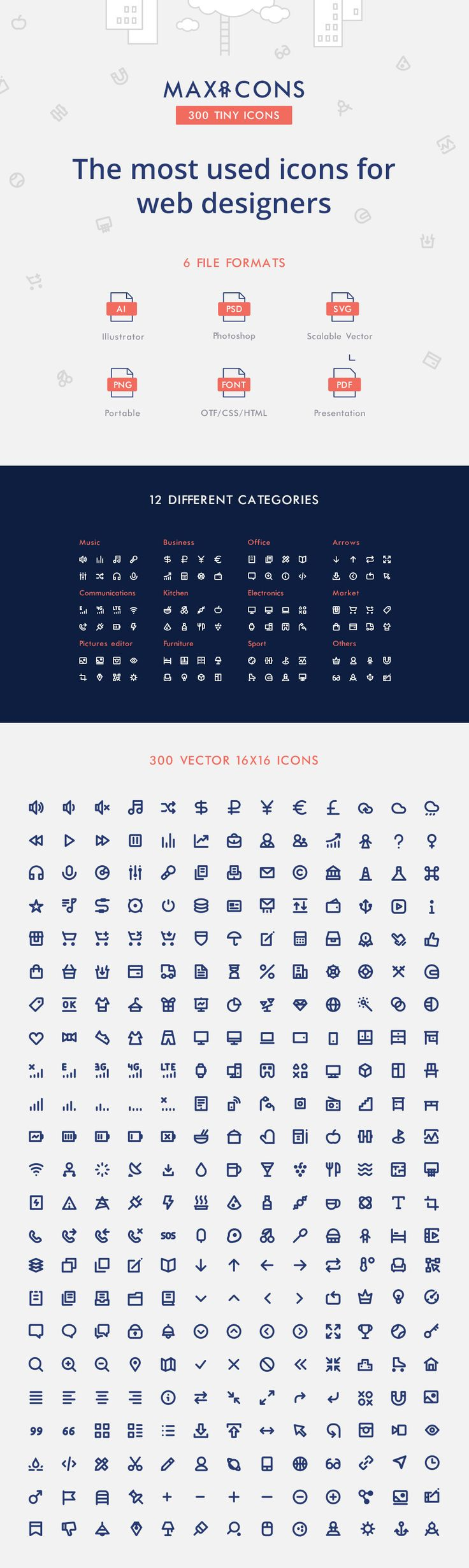 Maxicons is a small but versatile icons pack that any web designer needs in his or her toolbox. It doesn't matter if you're a web designer or web developer, this icon pack offers everything you need. The icons are available in AI, PS, SVG, PNG, OTF and PDF, making it easy for you to use …