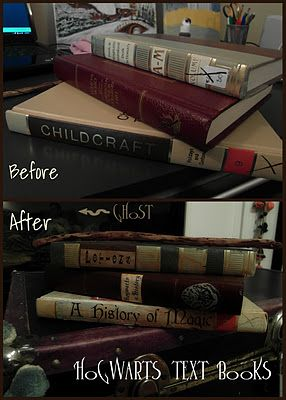Harry Potter decor--This would be fun to do when you make the paper bag text book covers in school. Rename your books after classes at Hogwarts