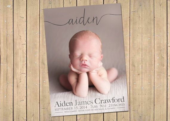 NAME BIRTH ANNOUNCEMENT  Photo Baby Announcement  by babybaloo