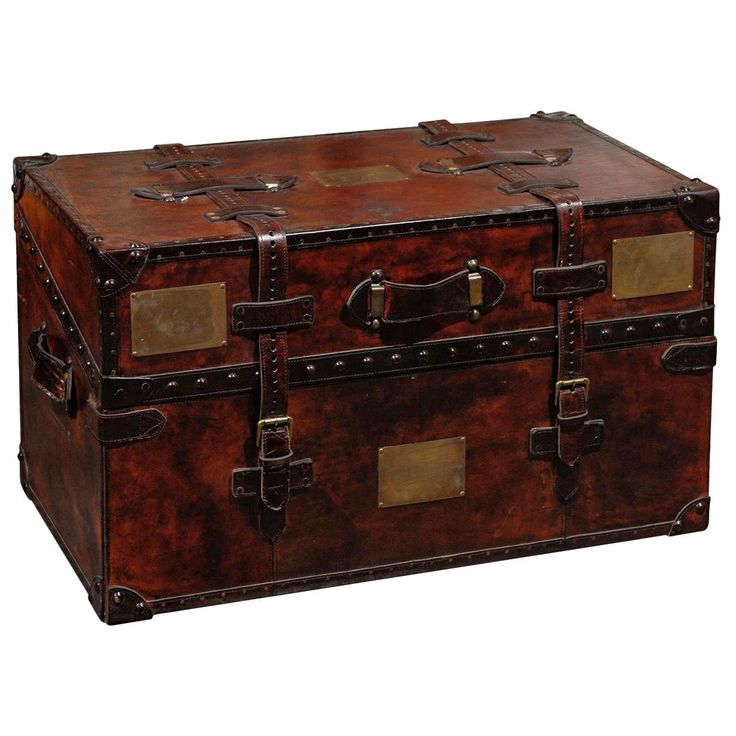 Leather Trunk | From a unique collection of antique and modern trunks and luggage at https://www.1stdibs.com/furniture/more-furniture-collectibles/trunks-luggage/