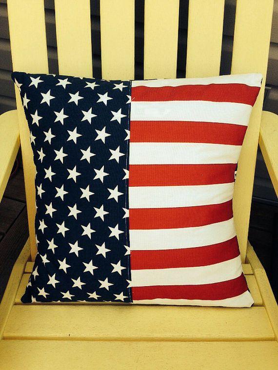 Patriotic flag pillow on Etsy, $20.00
