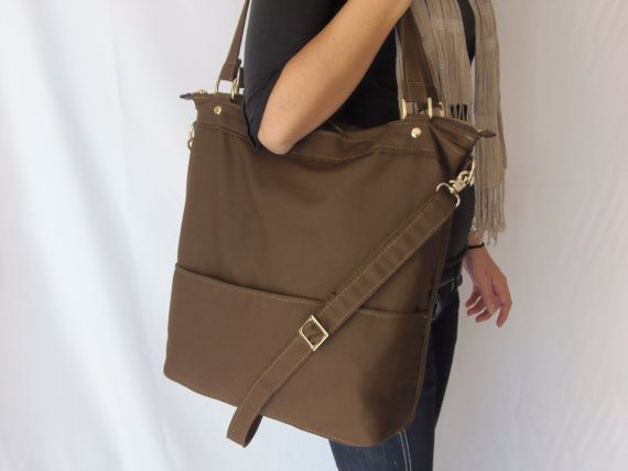 My Birthday is coming soon....10% SALE /Women handmade tote bag/Brown cotton canvas tote/tote purse/laptop tote bag/messenger canvas bag/shoulder purse/travel tote bag