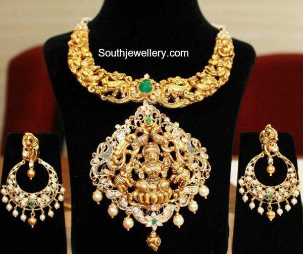 peacock nakshi necklace lakshmi pendant 600x503 photo