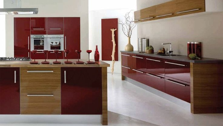 FUSION HIGH GLOSS BURGUNDY AND AMERICAN WALNUT A modern but warming design that combines, sleek design with natural walnut.