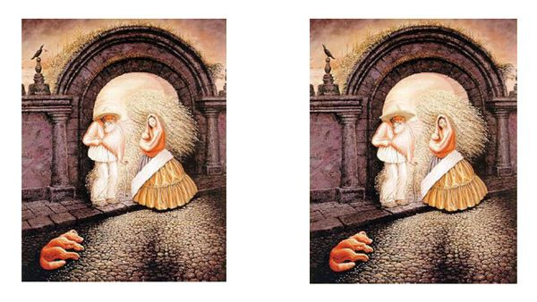 At first glance, the majority will see an old man. At second glance, they will see a couple with a sleeping dog. This shows Gestalt's theory that the sum is different than  the parts. It also shows Cezanne's epiphany that art is actually made by the canvas of our own minds. We do not see things for what they are, but for what our cultured brain wants them to be.