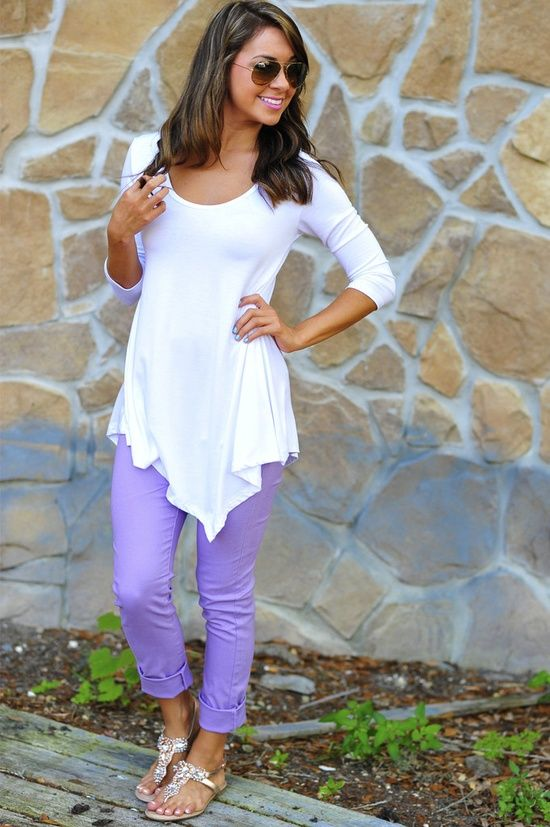 White pointed top and Purple Jean Leggings!