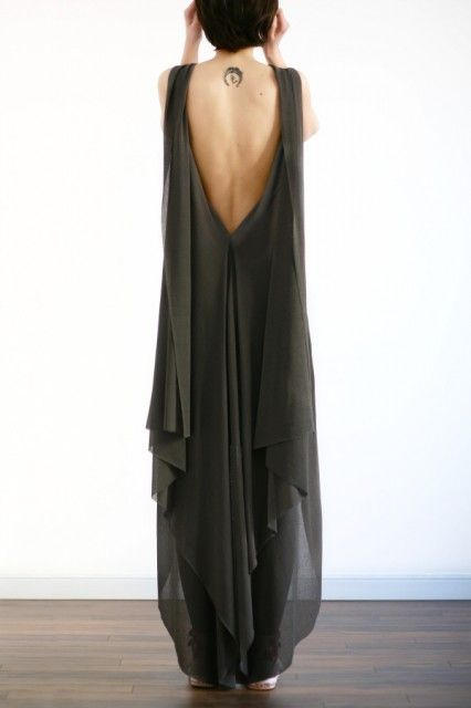 This draped open back look has such beautiful lines