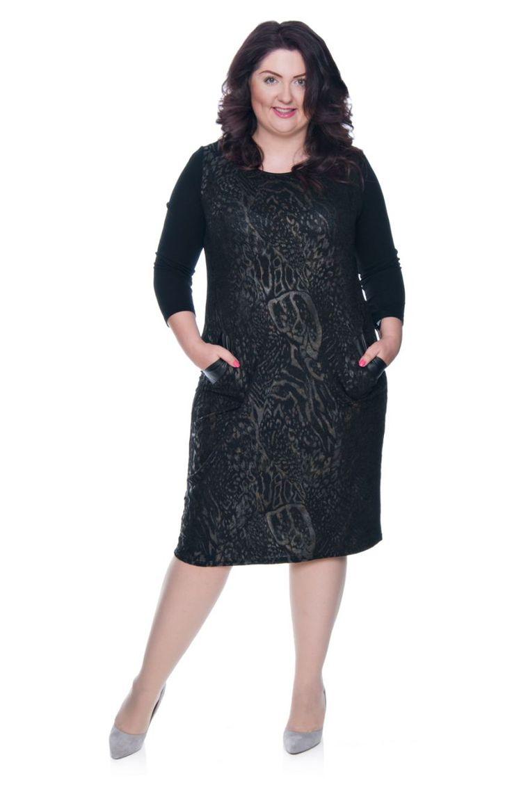 Czarna sukienka w złote cętki - Modne Duże Rozmiary