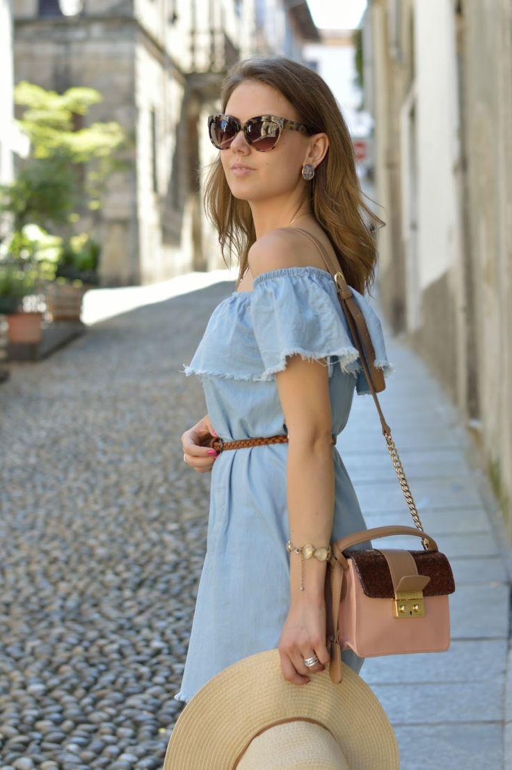 LIGHT BLUE OFF THE SHOULDER DRESS Beatrice B bag #ootd #bag #outfit #blue www.ellysa.it