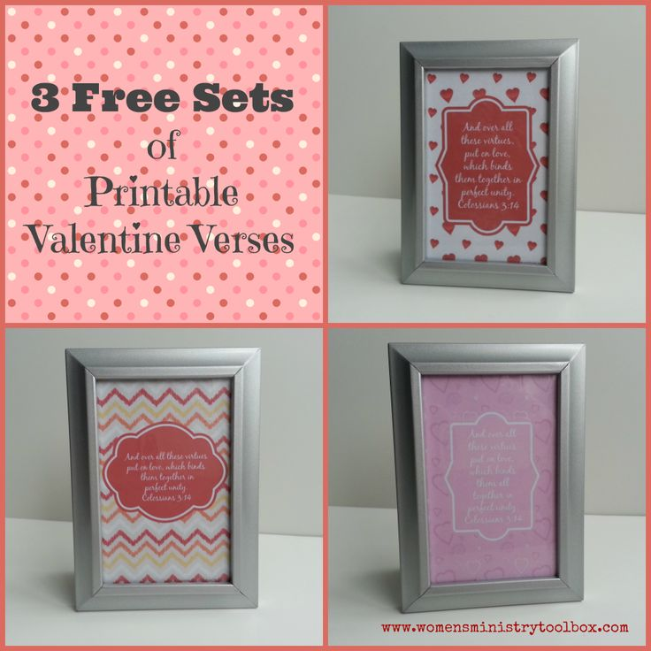 "3 Free Sets of Printable Valentine Verses - These can do double duty as décor for your event and then give them away at the end as door prizes! Perfect for a Sweetheart Banquet or Women's Ministry Event. Maybe you'd like to give out ""happies"" to your Women's Ministry team next month. I've created 3 different sets of …"