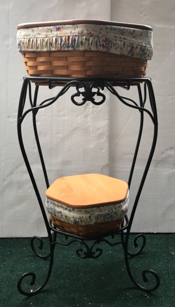 Longaberger Wrought Iron Plant Stand 2 Baskets 2 Liners 2 Plastic