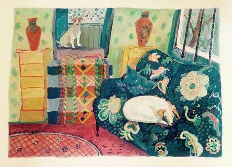 Helen Mudge, Interior with Dogs on ArtStack #helen-mudge #art