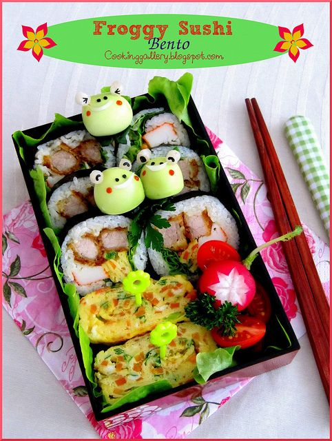 Froggy Sushi Bento by Cooking-Gallery, via Flickr