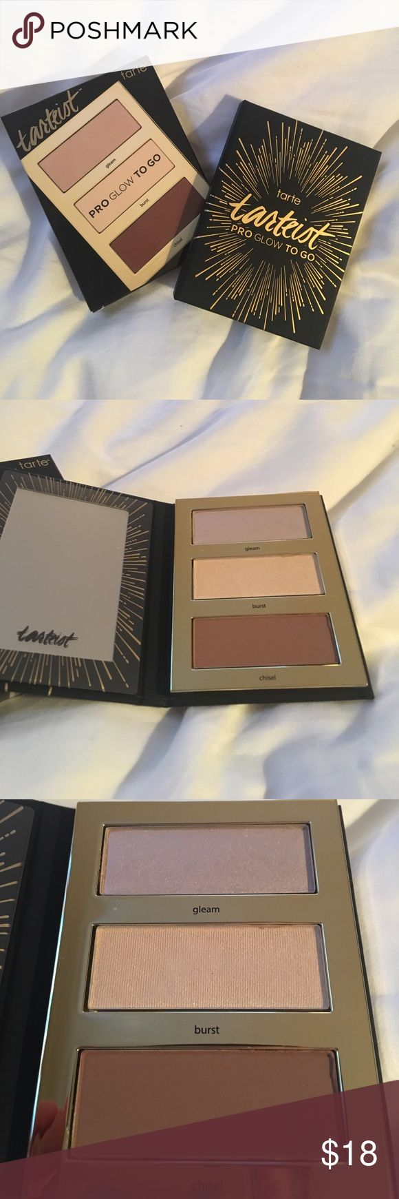NWTs Tarte Pro Glow Highlight&Contour Palette NWts never used or tested! Tarte cosmetics pro glow to go highlight and Contor pallet when you need to get party ready in a hurry, use this portable mini palette to highlight your face on the go. It includes a pearl and a shimmery send highlighter to illuminate cheekbones and a Mac contour shade to define your features it's the ideal size to Sashing you're bad to touch up with you later. tarte Makeup Luminizer
