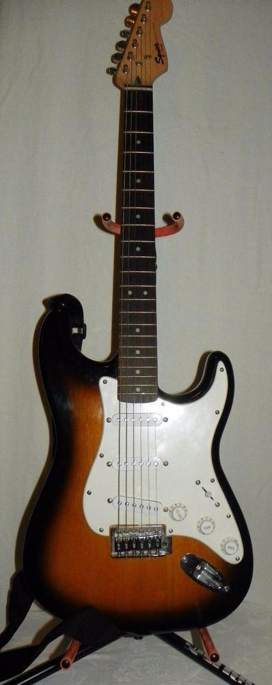 Fender Squier Bullet Strat Brown Sunburst Electric Guitar w Amp Stand Case  #Squier