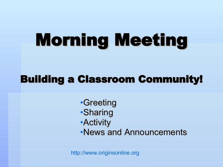 morning-meeting by Mandie Funk via Slideshare