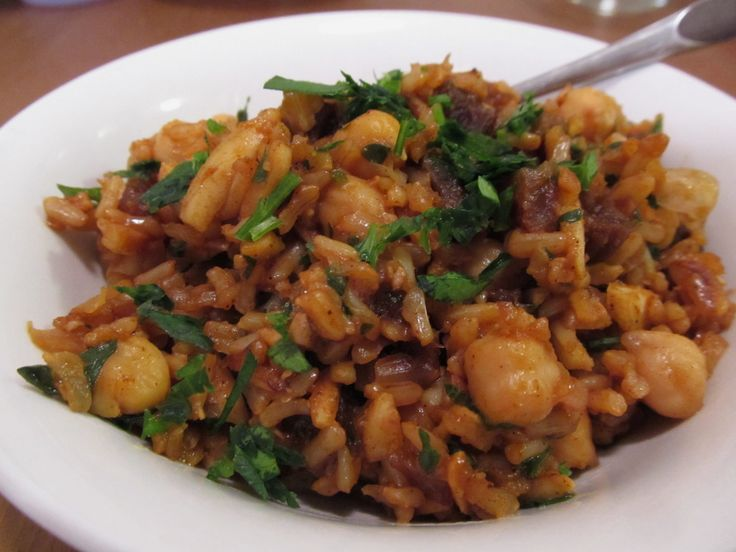 Rice Pilaf with Apricots, Chickpeas, and Almonds (a Mark Bittman recipe)