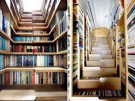 Unique Staircase with Built in Book Cabinets and Bookshelves Design Ideas
