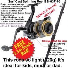 BaitBox H3 70F Surf Cast Threadline Reel with Free 3.3m Teloscopic Beach Rod  Simply incredible value - grab it while stocks last