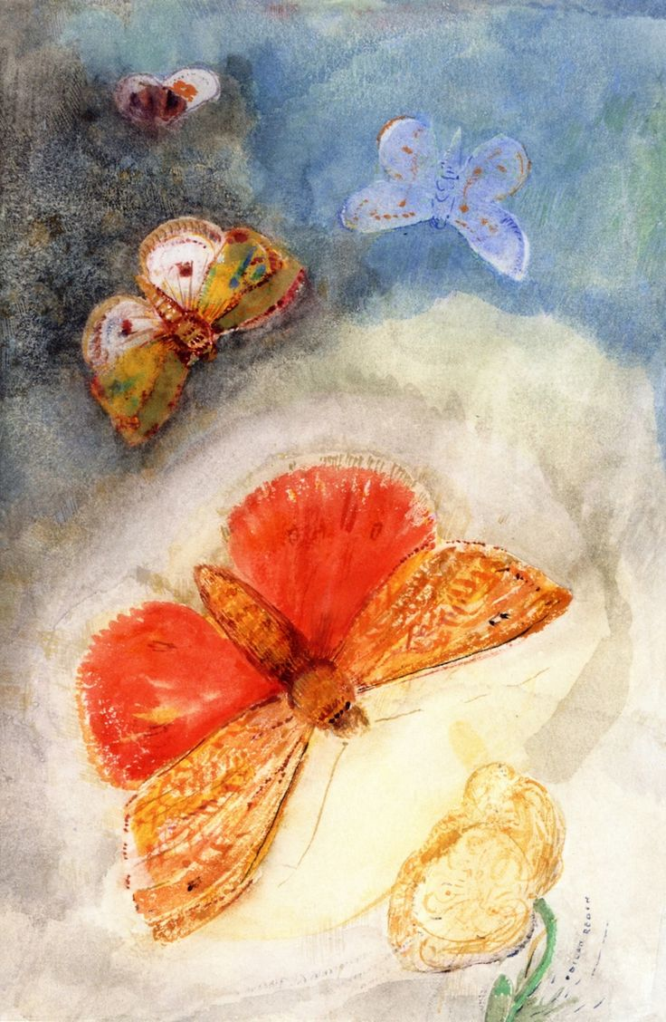 Odilon Redon ~ Butterflies and Flowers, c.1910-14