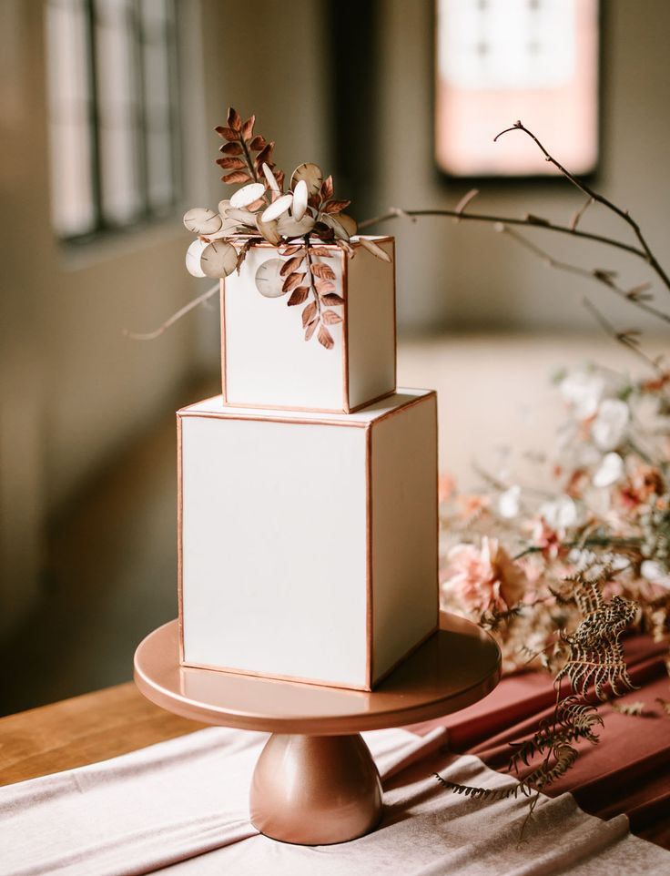modern box rectangular cake with copper accents