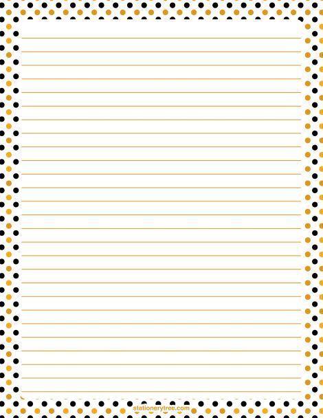 Printable Halloween polka dot stationery and writing paper. Multiple versions available with or without lines. Free PDF downloads at http://stationerytree.com/download/halloween-polka-dot-stationery/