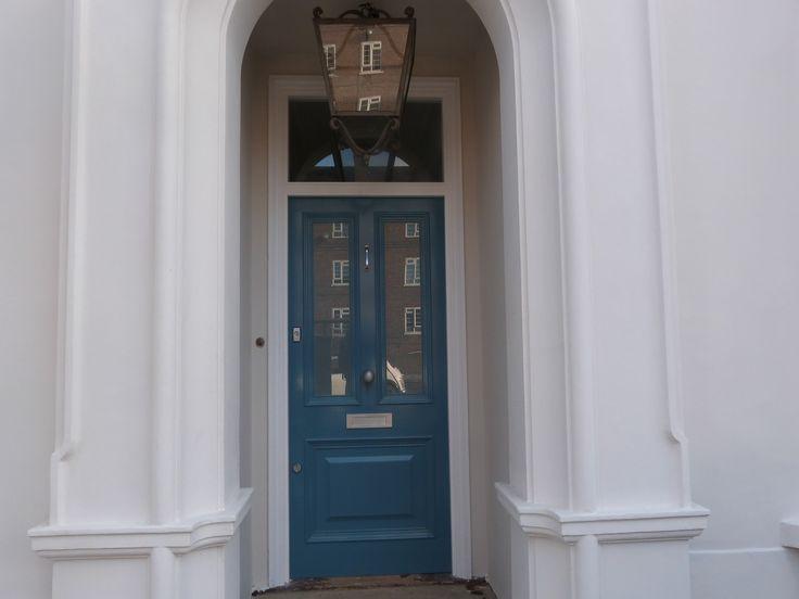 Blue Victorian front door in London.