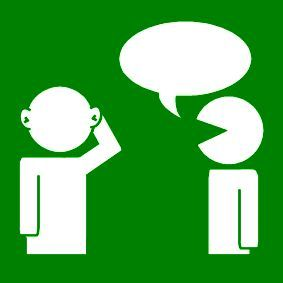 Pictogram: listen to each other green