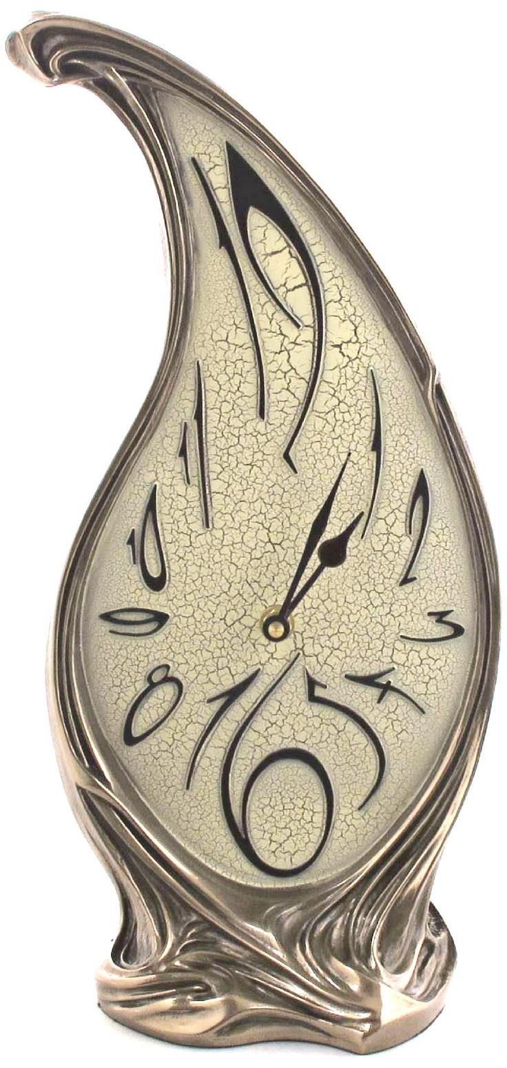 Melting Art Nouveau Bronze Table Clock -