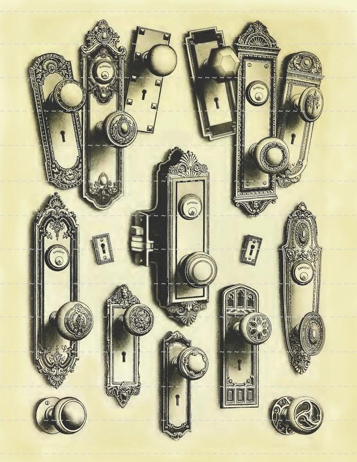 Vintage Antique Doorknobs Handles Locks Keyholes Digital Download Background Backdrop Collage Sheet Altered Art Weird Odd. $1.00, via Etsy.