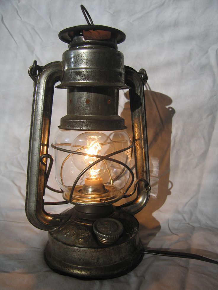Convert a kerosene lantern into an electric lamp. Yes!
