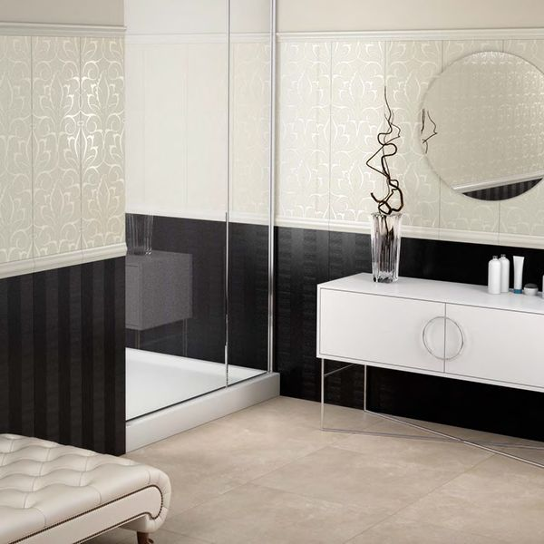 Black White And Silver Bathroom: New Ker - Royal Black And White Bathroom Tiles