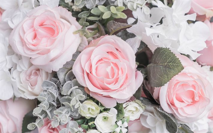 Download wallpapers pink roses, beautiful pink flowers, bouquet of roses