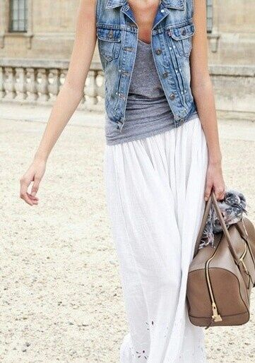 jean vest, loose grey tank, white maxi skirt